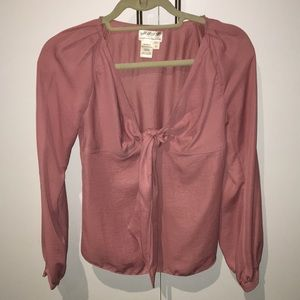 Pink tie (small) keyhole blouse